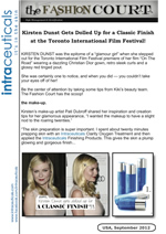 Kirsten Dunst gets dolled up for classic finish at the Toronto International Film Festival.